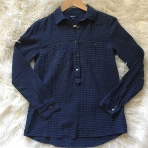 Madewell Green Blu Plaid Popover Flannel Top